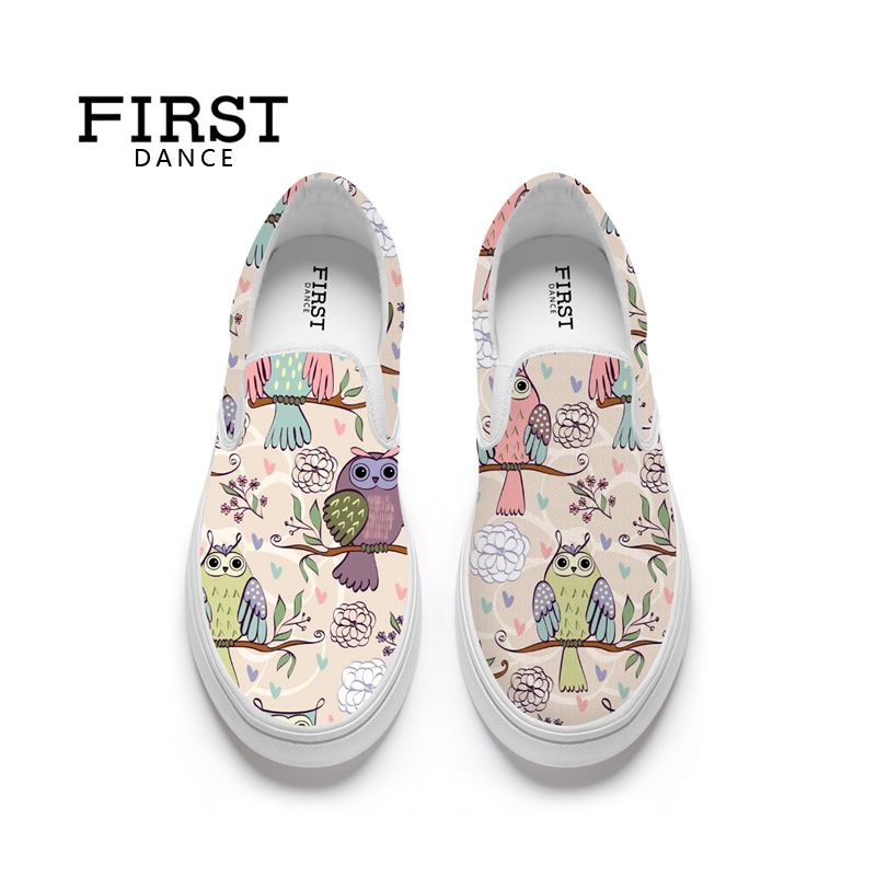 FIRST DANCE Fashion Women Flats Loafers Animal Bird Print Slip On Shoes For Women Casual Ladies Nice Flat-Bottomed Shoes Spring charming nice siketu 2017 fashional women flats shoes slip on comfort shoes flat shoes loafers best gift drop shipping y30