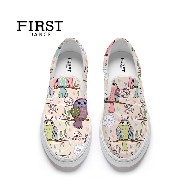 FIRST DANCE Fashion Women Flats Loafers Animal Bird Print Slip On Shoes For Women Casual Ladies Nice Flat-Bottomed Shoes Spring
