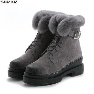 Image 1 - SWYIVY tavşan kürk kış ayakkabı Sneakers kadın yarım çizmeler hakiki deri 2019 kış yeni peluş kürk kar botları sıcak ayakkabı kadın