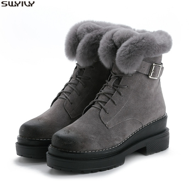 SWYIVY tavşan kürk kış ayakkabı Sneakers kadın yarım çizmeler hakiki deri 2019 kış yeni peluş kürk kar botları sıcak ayakkabı kadın
