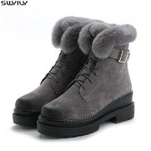 Swyivy pele de coelho sapatos de inverno das sapatilhas das mulheres tornozelo botas de couro genuíno 2019 inverno nova pele de pelúcia botas de neve sapatos quentes femininos