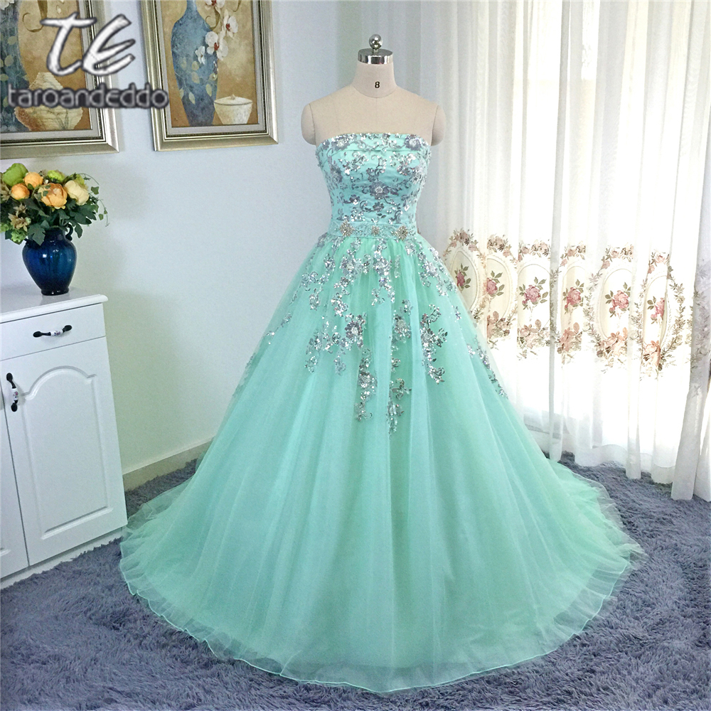 Silver Wedding Gowns: Strapless Silver Metal Lace Applique Ball Gowns Mint Blue