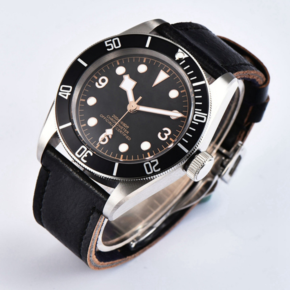 41mm Sterile Dial rosegold Marks watch men Sapphire Glass relogio masculino Black Bezel Mens Automatic mechanical wristwatches - 4