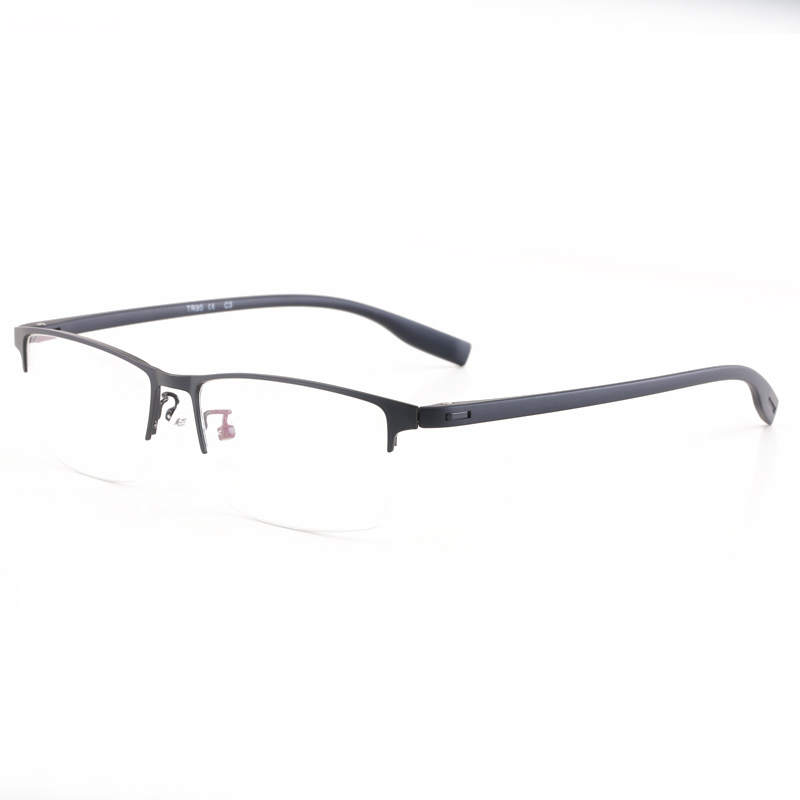 High quality Half rimmed glasses metal myopia men\'s fashion large ...