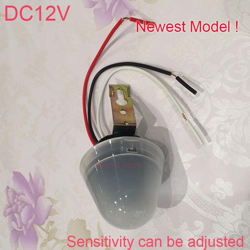 Hot!Adjustable photosensitive Light Sensor Control Street Lamp Switch Auto Operated 10A AC/DC12V Photocell street Light Switch