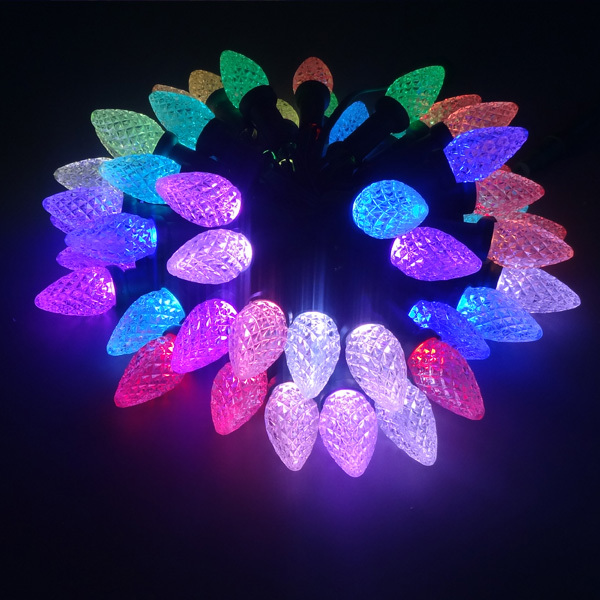 50nodes addressable RGB C9 DC12V WS2811 LED Christmas pixel string light;6inches(15cm)  wire spacing;all BLACK wire;IP68-in Lighting Strings from Lights ... - 50nodes Addressable RGB C9 DC12V WS2811 LED Christmas Pixel String