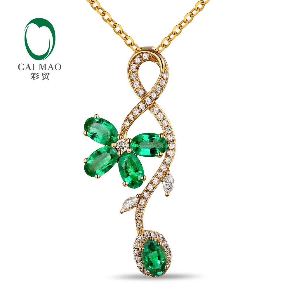 CaiMao 14KT/585 Jaune Or 1.47ct Émeraude 0.29ct Round Cut Diamond Engagement Gemstone Pendentif Bijoux