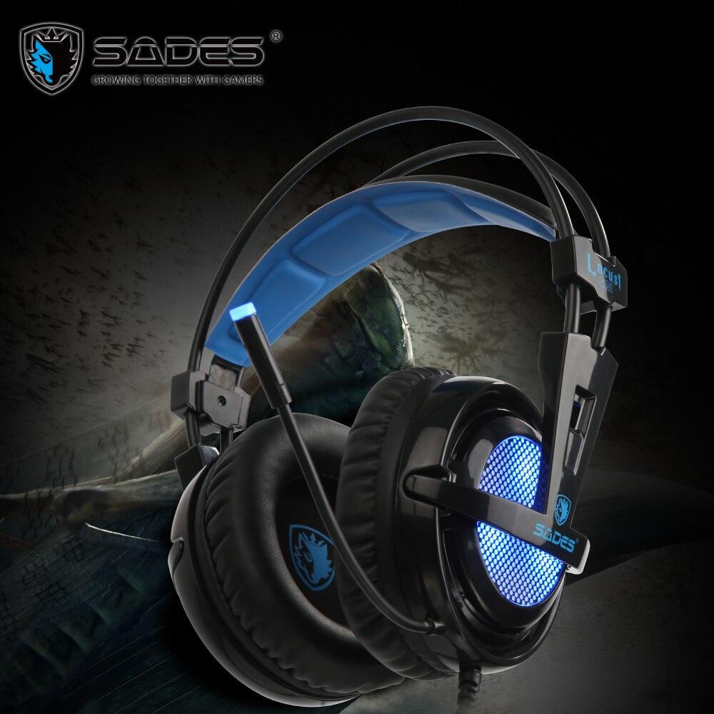 SADES саранчи плюс Виртуальный 7,1 Surround Sound высококачественные наушники гарнитура наушники для геймера с RGB света