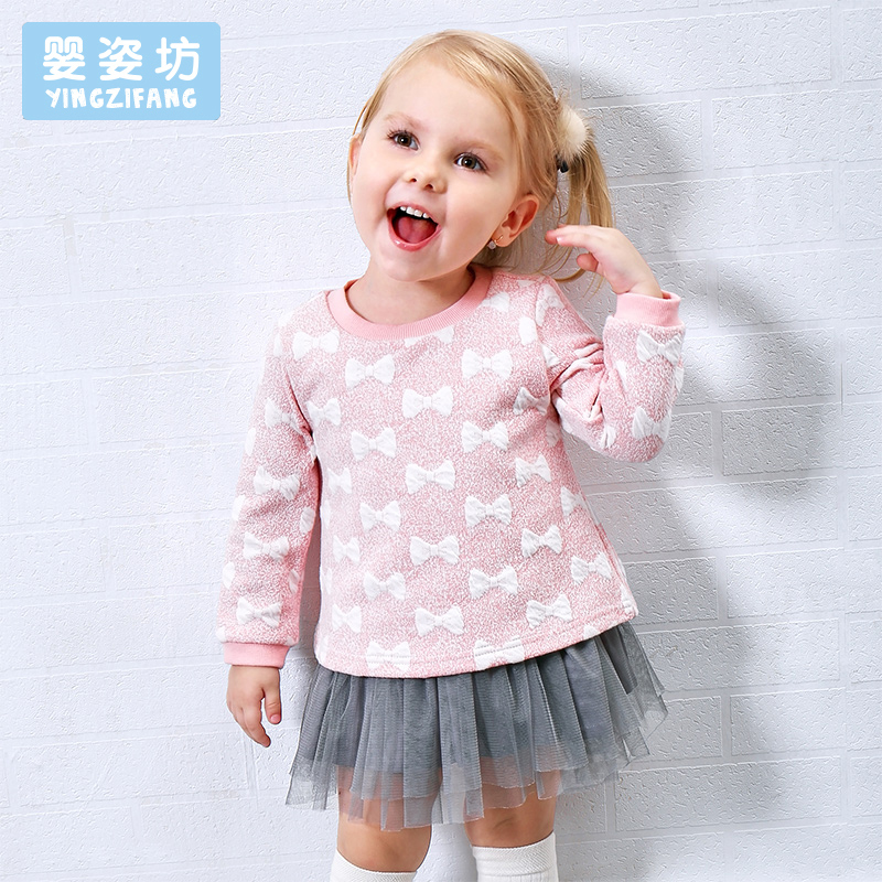 Winter Girls Long Sleeve dresses Tee Bow Pattern Kids dress Casual Children tassel Sweatshirt O-Neck Cotton Baby Girl Tops tassel tie neck trumpet sleeve tiered floral dress
