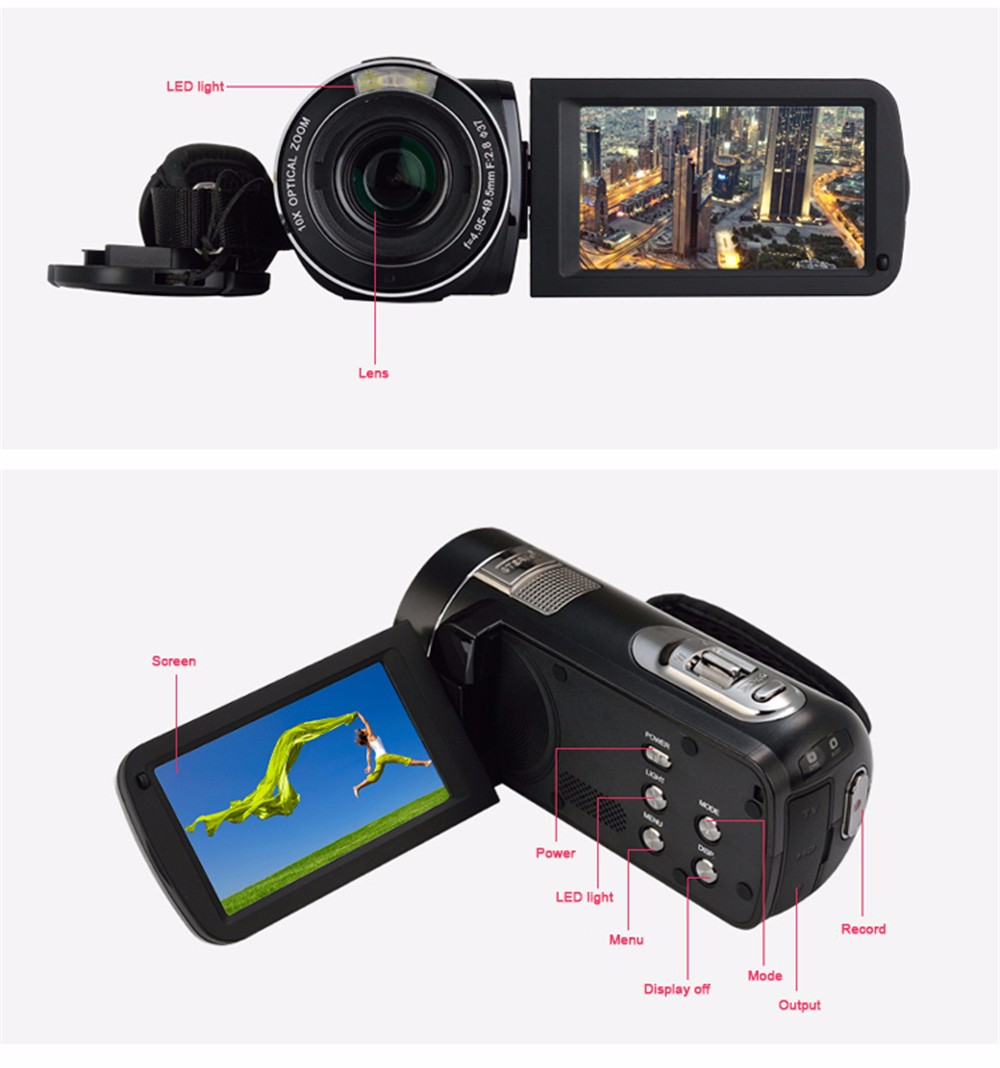 Marvie Free Shipping 10x Optical Zoom HD Digital 1080P FHD Video Camera Camcorder Night Vision 1X Digital Zoom Remote Control 10