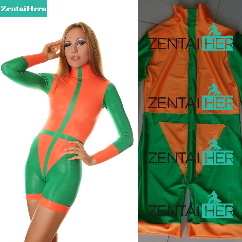 cf191b7545c9 Free Shipping DHL Sexy Women Green   Orange Zentai Mini Suit Catsuits  Leotard For Events and Halloween Party Plus Size Bodysuit