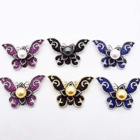 black red blue butterfly zircon freshwater pearl brooch FPPJ wholesale beads nature unique