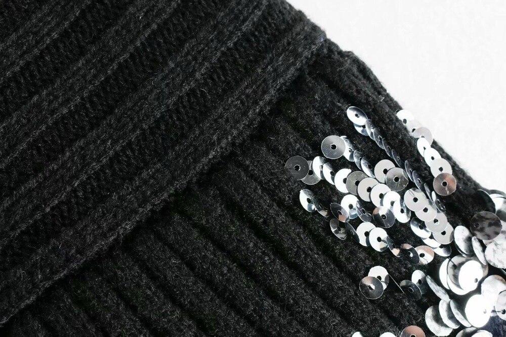 2019 Invierno Mujeres Truien Las E Suéter Alto Otoño De Lentejuelas Streetwear Jersey Black Cuello Moda RRrZA
