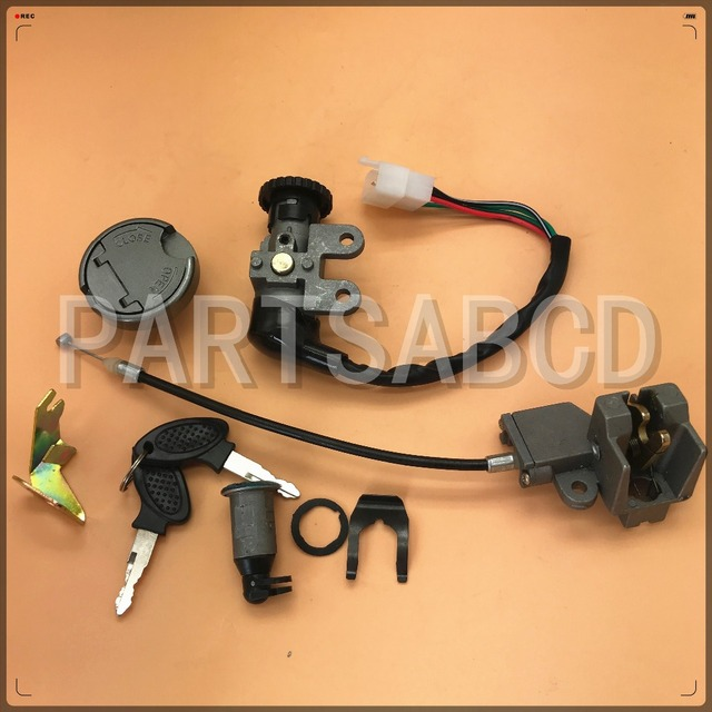 US $9 99 |Ignition Switch Key Set For Gy6 49 50cc 125cc 150cc Peace Roketa  Jonway Tank Scooter & moped 5 Pin-in ATV Parts & Accessories from