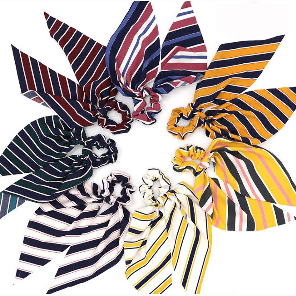 2019 Novelty Print Bow Streamers Hair Ring Women Boho Hair Scarf Elastic Hair Bands Scrunchies Girls Hair Accessories Headwear in Women 39 s Hair Accessories from Apparel Accessories