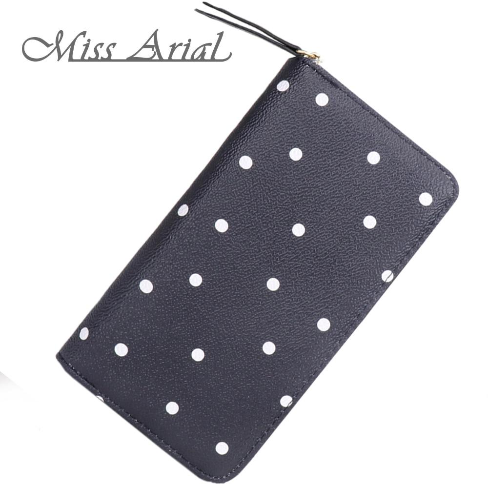 Zipper Long Wallet Women Polka Dot Wallet Dots Female Purse Coin Wallet Femal Ladies Purse Card Holder Wristlet