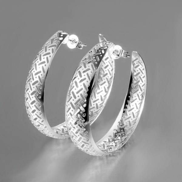 Yhamni Exaggerated Big Hoop Earrings Fashion 925 Sterling Silver