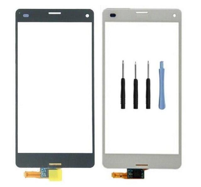 Top frente toque lens tela painel de digitador de vidro para Sony Xperia Z3 Mini Z3 Compact D5803 D5833 + adesivo + ferramentas frete grátis