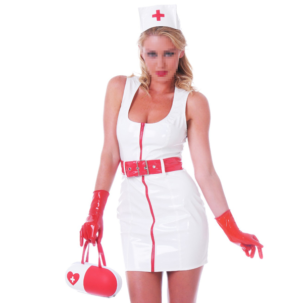 White Latex Nurse Uniform Skirt Tights Latex Dress Costumes With Latex Gloves&Belt