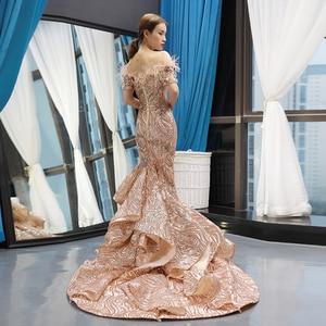 Image 2 - J66749 Jancember Mermaid Evening Dresses 2020 Off The Shoulder Short Sleeve Lace Wedding Guests Gowns