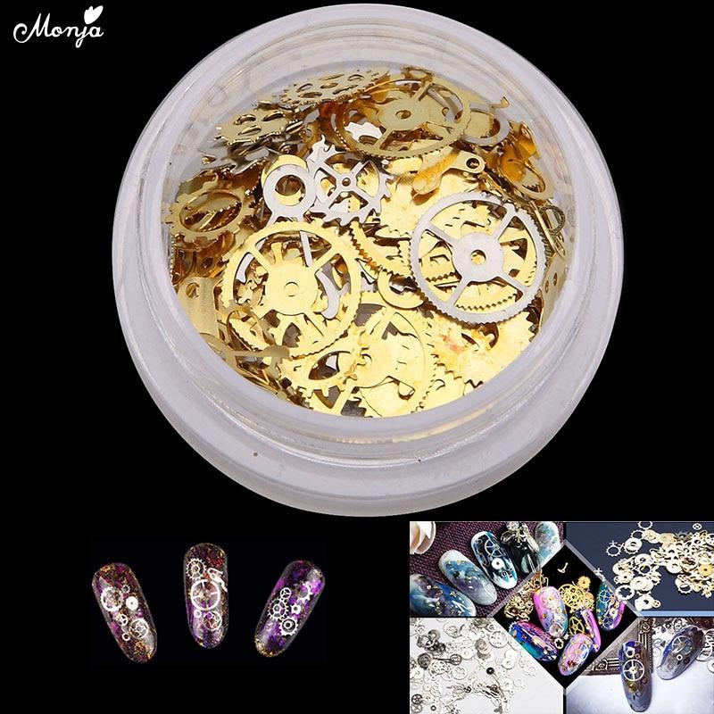Schönheit & Gesundheit Nails Art & Werkzeuge Monja 2 Farben Nail Art Gold Silber Ultra-dünne Steampunk Stil Flakes 3d Diy Dampf Räder Design Charms Dekorationen Zubehör Mit Traditionellen Methoden
