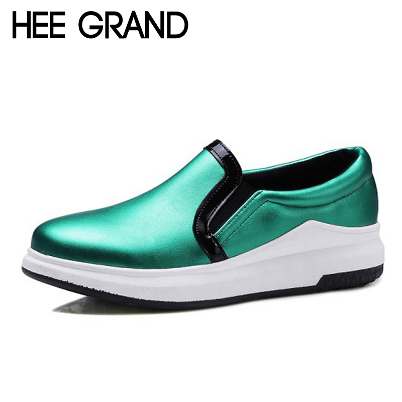 HEE GRAND Platform Shoes Woman 2017 Silver Creepers Comfort Slip On Loafers Casual Women Flats Shoes Size 35-43 XWD5274 akexiya casual women loafers platform breathable slip on flats shoes woman floral lace ladies flat canvas shoes size plus 35 43