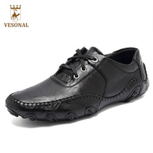 VESONAL Hot Sale 2017 New Men Casual Shoes Male Adult Genuine Leather Brand Autumn Winter Walking Driver Quality Footwear Man