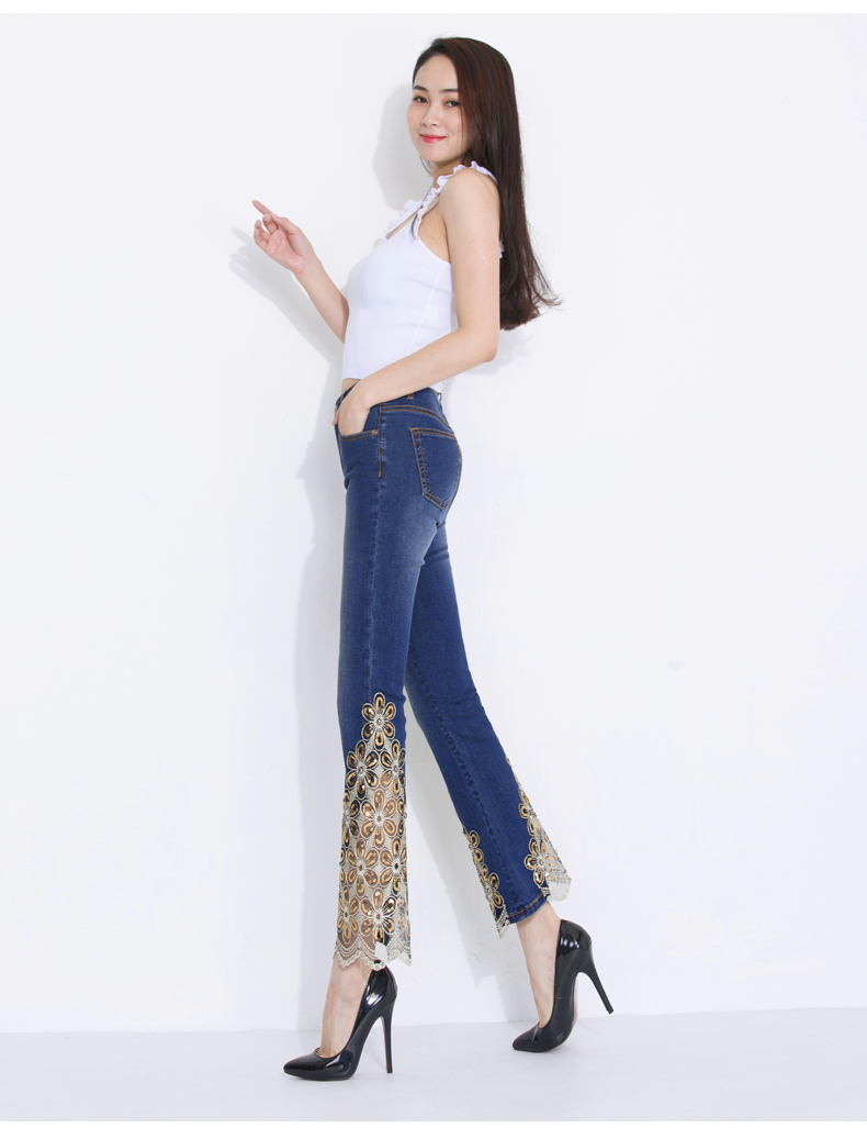 KSTUN Women Jeans Embroidered Flare Pants Sequined Summer Thin Stretch Bell Bottoms Black Blue Lace Designer Female Fashion 2018 23
