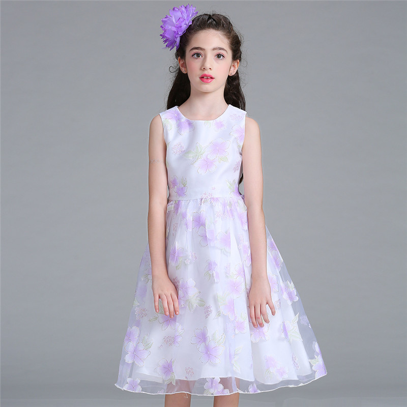 New Flower Girls Dress Purple Mesh Floral Pattern Wedding Pageant Princess Summer Party Dresses Clothes Sleeveless Kids 10 Years