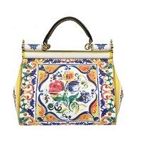 Роскошные Дизайнерские Цветочный принт роспись Tote Сумка женская Sicilian Винтаж этнических цыган Стиль сумочка из натуральной кожи сцепления