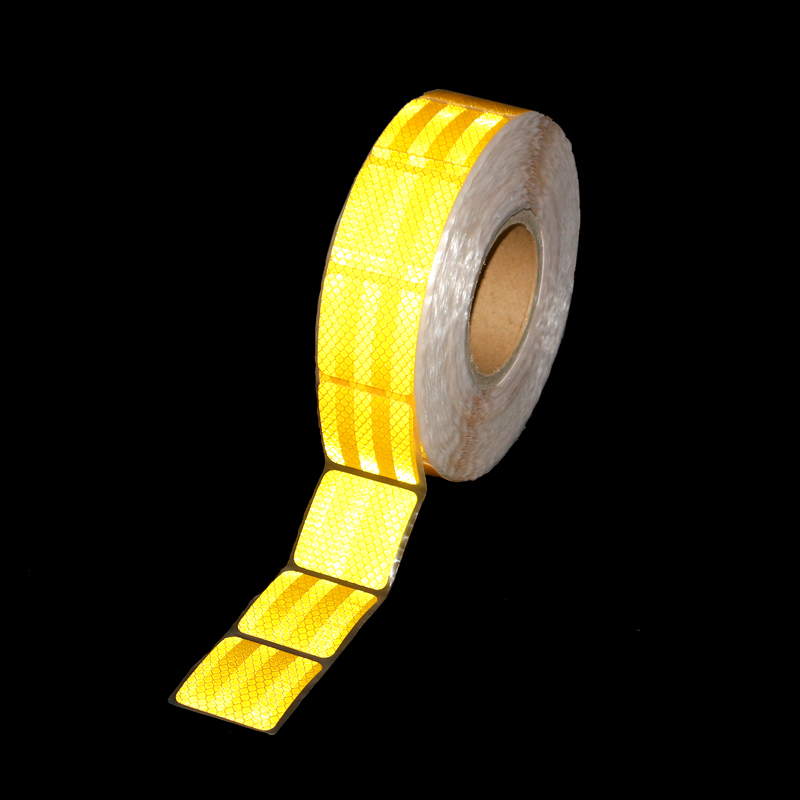 Yellow = Gold Single 5*5cm Chips Super Bright Reflective PET Tape Sticker Roadway Car Vehicle Truck Motorcycle Warning Decals