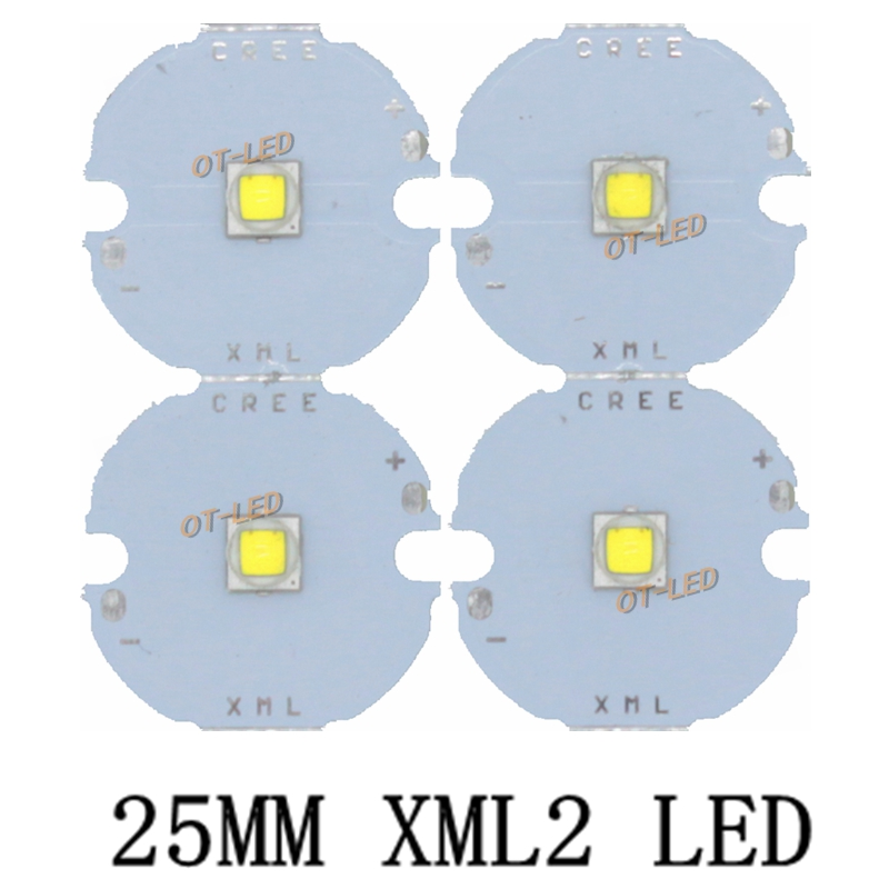1PCS 25MM CREE XML2 XM-L2 LED T6 U2 10W WHITE Neutral White Warm White High Power LED Emitter with 25mm PCB for DIY 30w cree xlamp 3 series xm l2 xml2 t6 cool white warm white neutral white led light on 50mm pcb board for diy flashlight torch