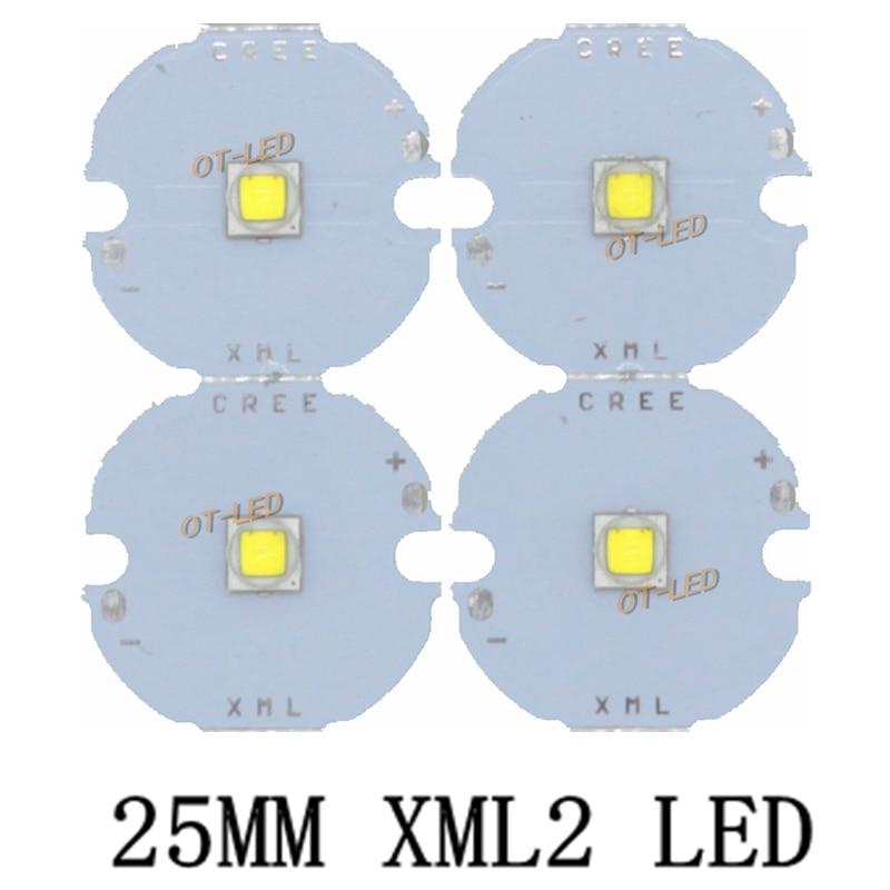 1PCS 25MM CREE XML2 XM-L2 LED T6 U2 10W WHITE Neutral White Warm White High Power LED Emitter With  25mm PCB For DIY