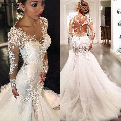 Elegant Long Sleeve Mermaid Wedding Dresses 2018 Sheer Robe De ...