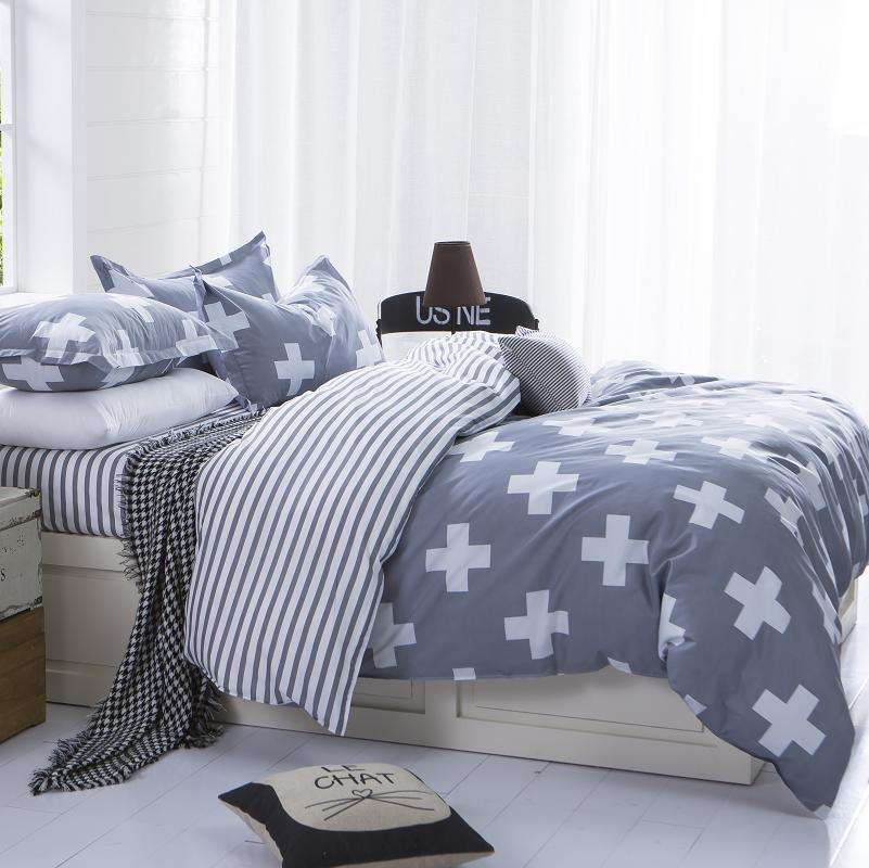AHSNME 러시아 유럽 사용자 정의 크기 침대 세트 킹 퀸 크기 듀벳 커버 클래식 줄무늬 및 십자선 현대 미니멀 스타일