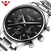 NIBOSI для мужчин s часы лучший бренд класса люкс спортивные водонепроницаемые часы нержавеющая Военная Униформа хронограф наручные часы Relogio