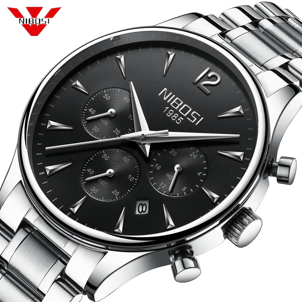 NIBOSI Mens Watches Top Brand Luxury Sport Waterproof Watch Men Stainless Military Chronograph Wristwatch Relogio Masculino Saat