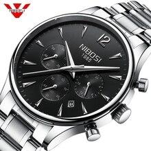 NIBOSI для мужчин s часы лучший бренд класса люкс спортивные водонепроницаемые часы нержавеющая Военная Униформа хронограф наручные часы Relogio Masculino Saat