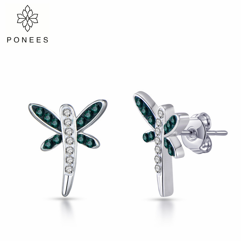 PONEES Fashion Crystal Dragonfly Stud Earrings For Women New Animal Jewelry Insect Earrings 2018 For Girl