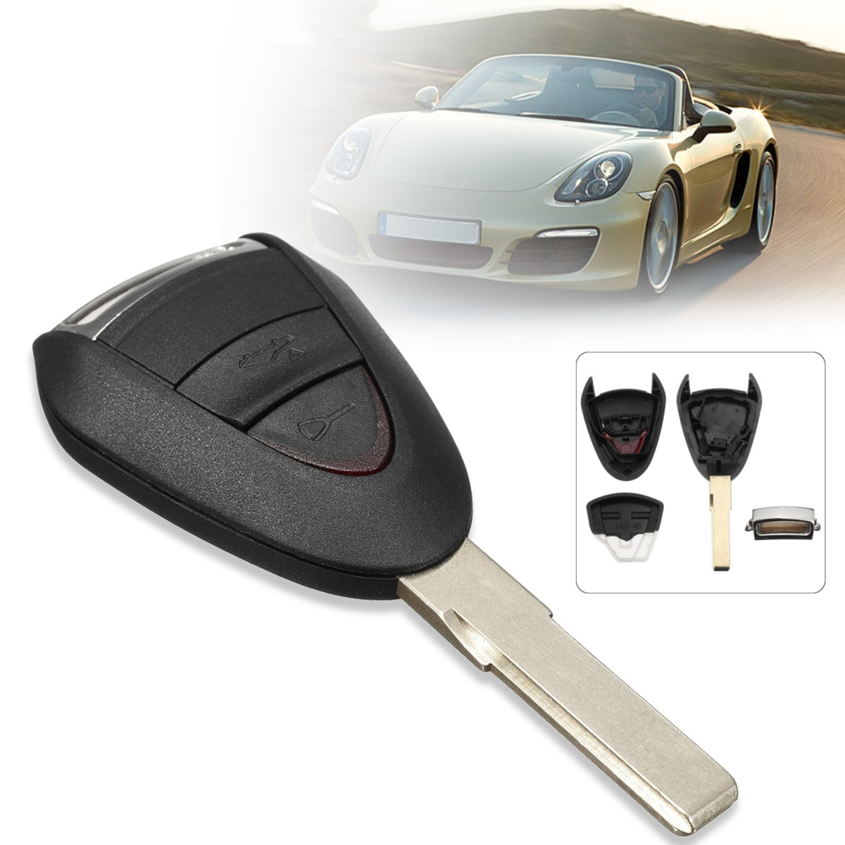 2 Buttons Lock Unlock Car Remote Key Fob Case Shell Uncut Blade For Porsche/Carrera 911 997 Boxster S 2S 4S Turbo