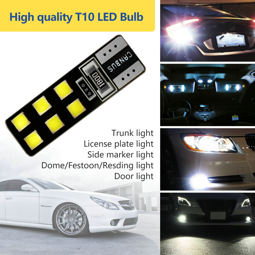 LED Light Bulbs For Cars 2Pieces T10 5630 12SMD High Power Car Wedge License Plate LED Light Bulbs Width Reading Panel Lights-in Signal Lamp from Automobiles & Motorcycles