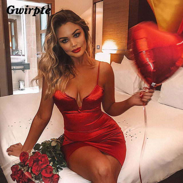 Gwirpte 2019 Strap V Neck Dress Women Sexy Bodycon Silky Satin Dresses Sleeveless Backless Bandage Mini Vestidos Female by Gwirpte