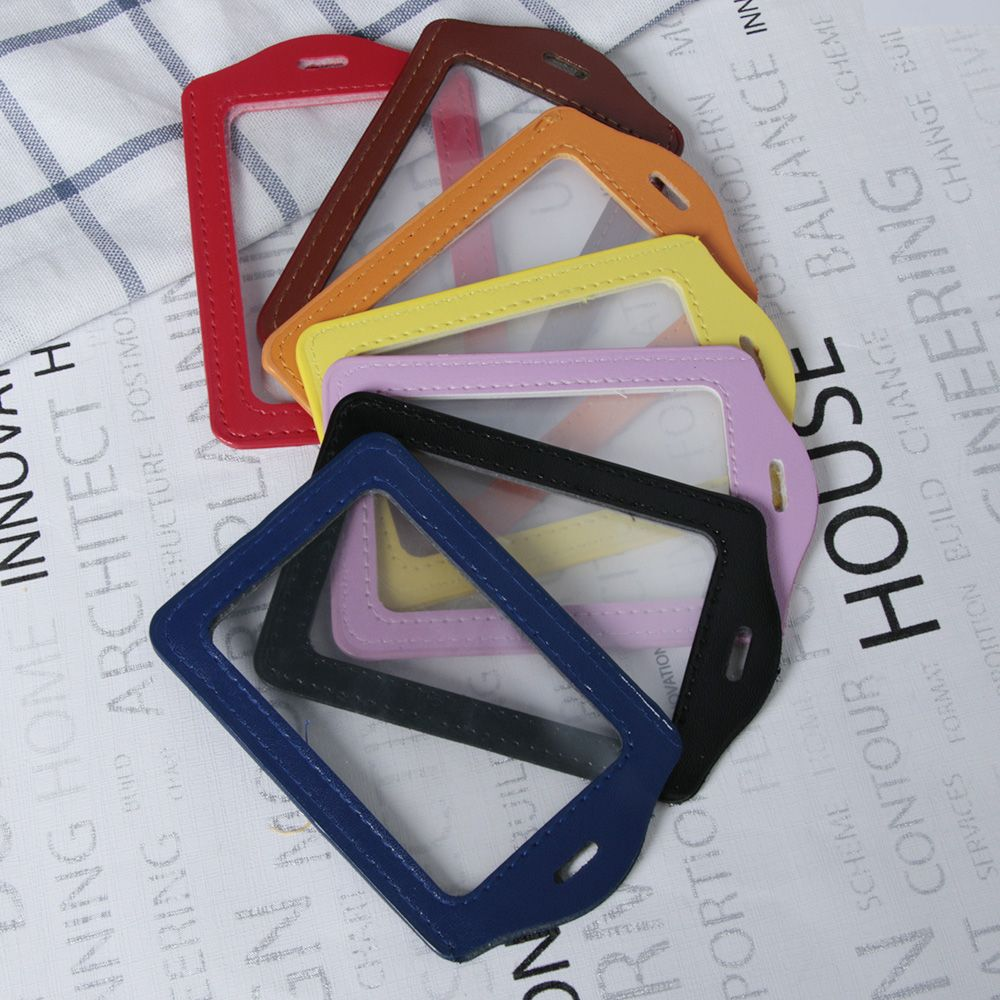 PU Leather Card Sleeve ID Badge Case Clear and Color Border and Lanyard Hole Hot
