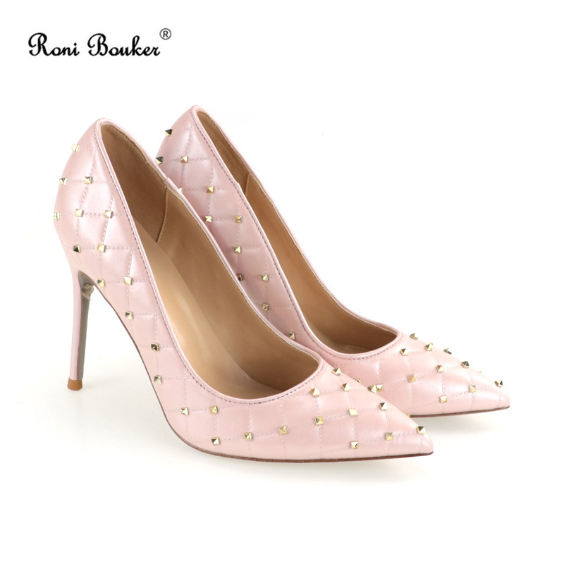 Pink Sheepskin Leather Lady High Heels Party Women Pumps Shoes Studs Sexy Shallow Heels Shoes Big Size Pointed Toe Rivet Shoes big size 40 41 42 women pumps 11 cm thin heels fashion beautiful pointy toe spell color sexy shoes discount sale free shipping