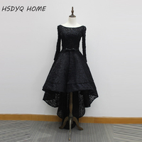 Amazing 2016 In Stock Cheap Scoop Neckline Beaded Lace Black Long Sleeves High Low Prom Dresses