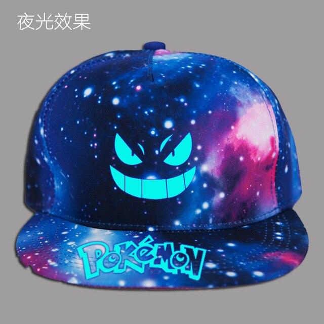 Unisex Caps Pokemon Letter Print BlackGalaxy Print Hats Sun Protection Casual Cap Boys Drop Shipping