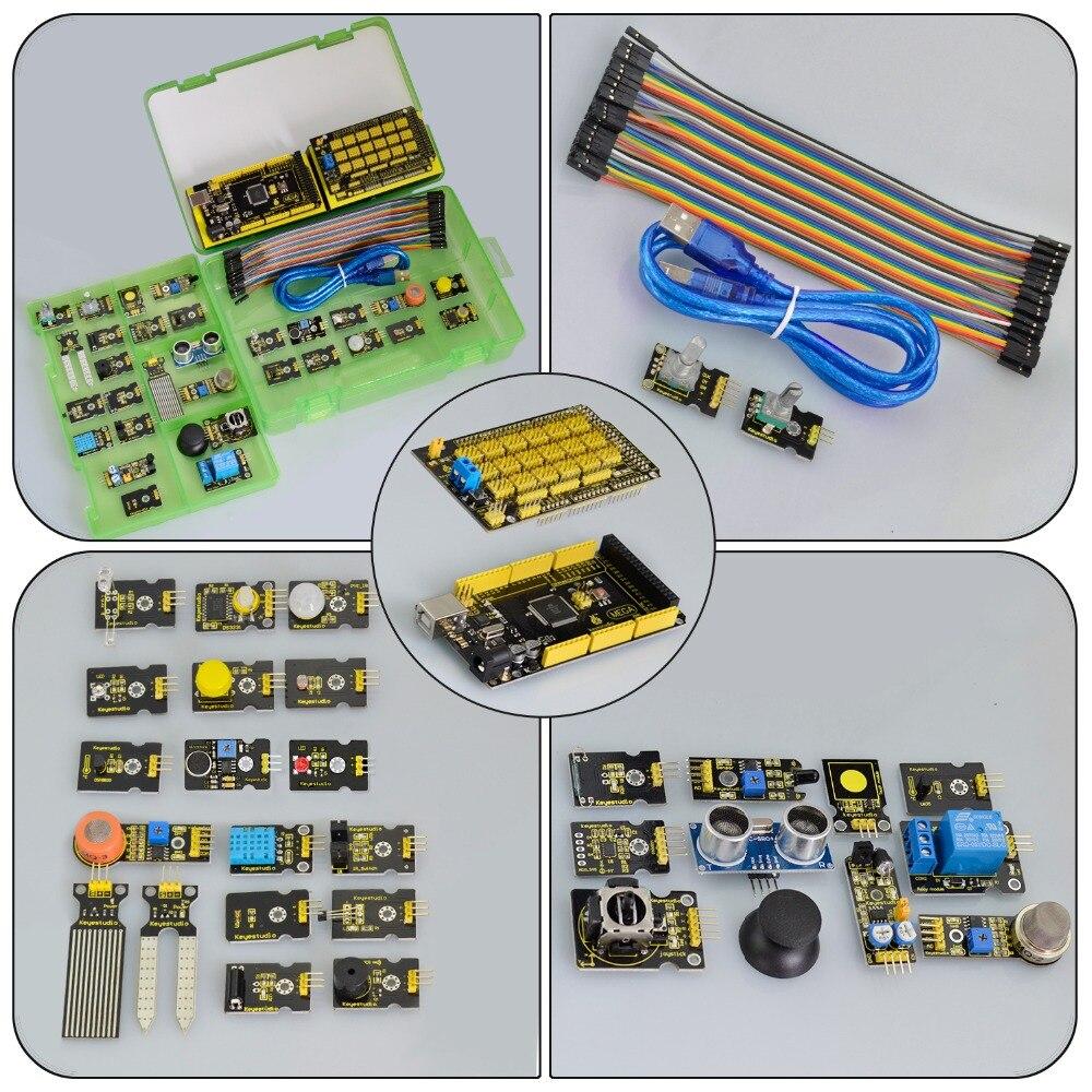 Livraison gratuite! nouveau Kit de démarrage de capteur (Mega 2560 + Shield V1) pour projet Arduino avec boîte-cadeau + capteurs (30 pièces) + PDF (en ligne) - 3