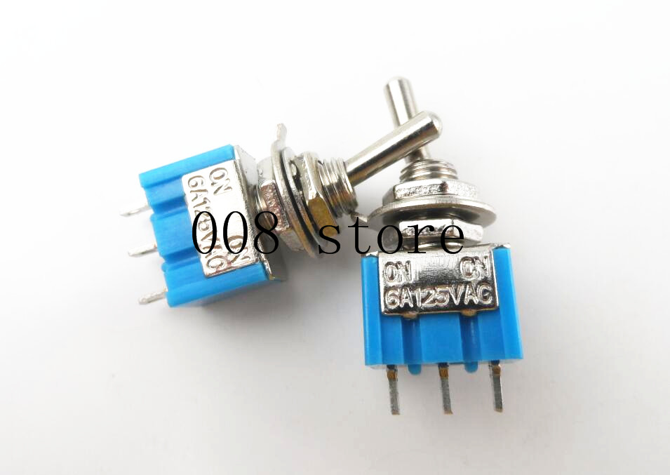 High Quality 5 Pcs AC 3A/250V 6A/125V ON/OFF SPDT Mini 2 Position 3pin Latching Toggle Switch sky blue