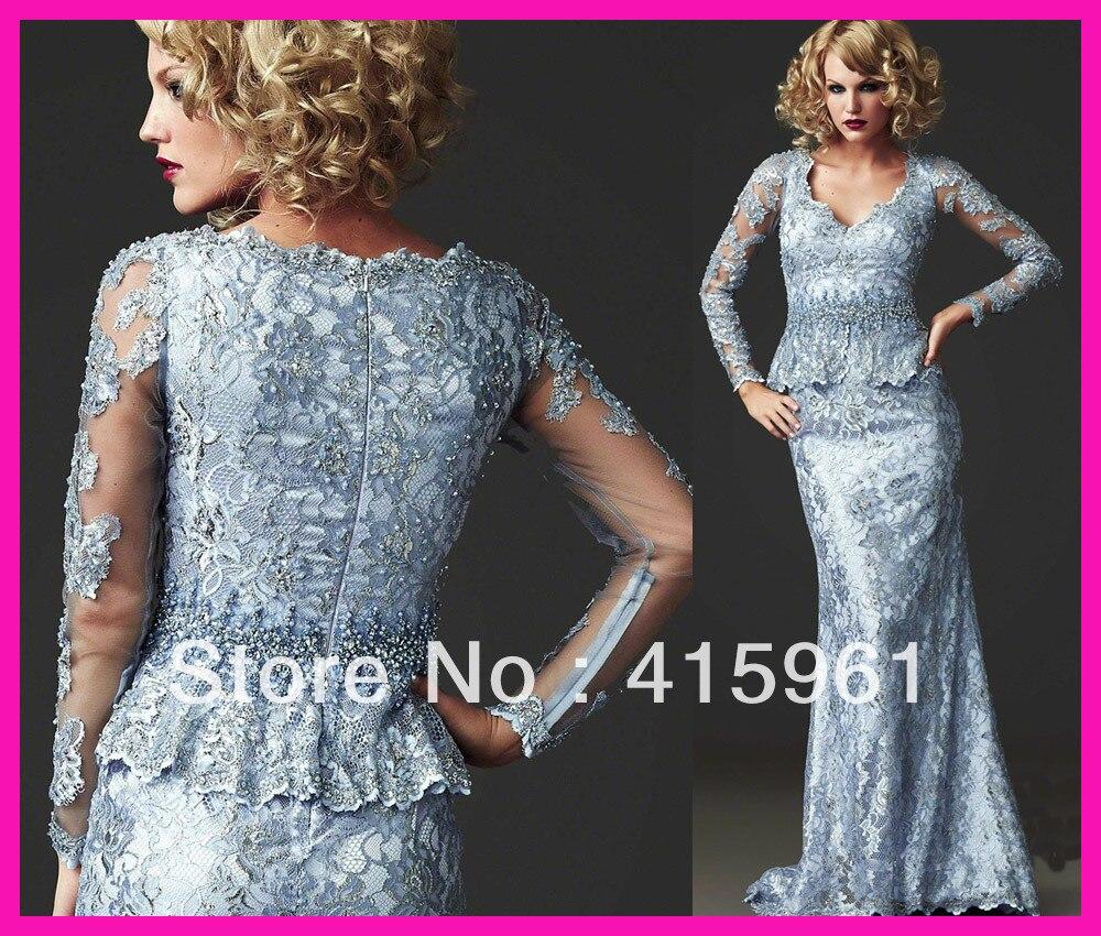 Robes de novia 2019 Vintage bleu une pièce Couture à manches longues gaine dentelle sirène mère de la mariée robes robes de soirée