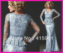 2014 Vintage Blue One Piece Couture Long Sleeve Sheath Mother of the Bride Lace Dresses Gowns M1794 цены